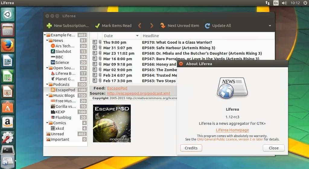 How to Install Liferea 1 12 RC3 Linux News / Reader