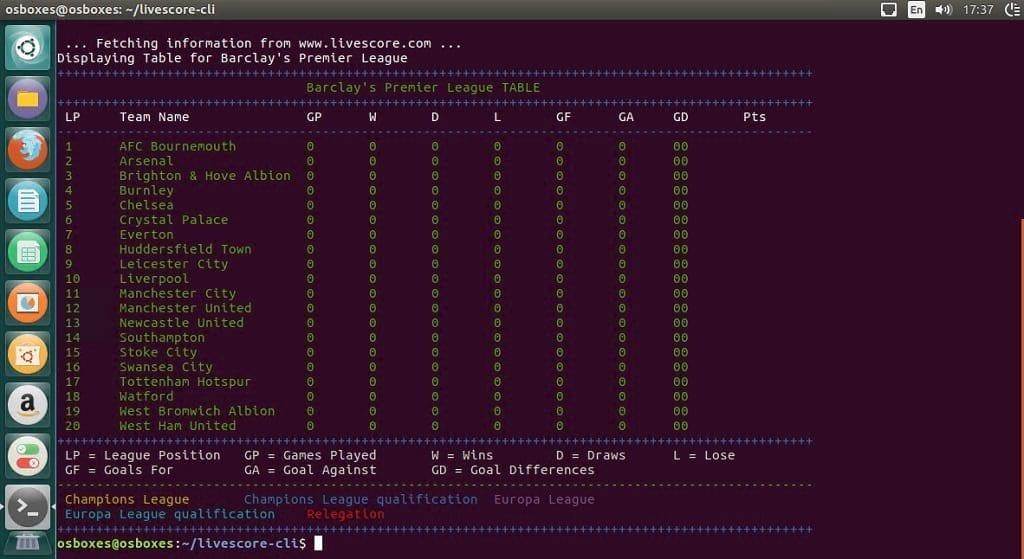 livescore-cli ubuntu