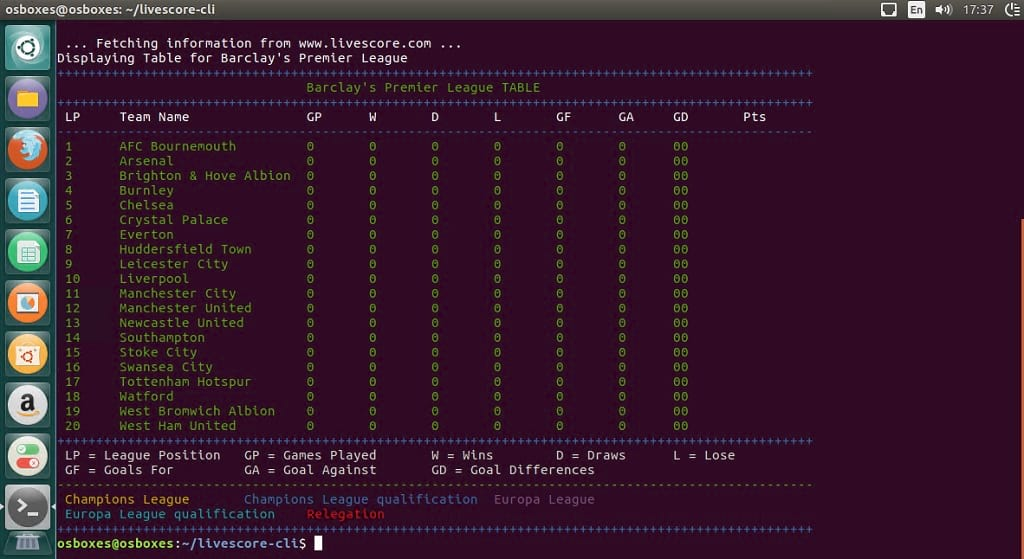 get premier league and soccer scores with livescore cli on ubuntu