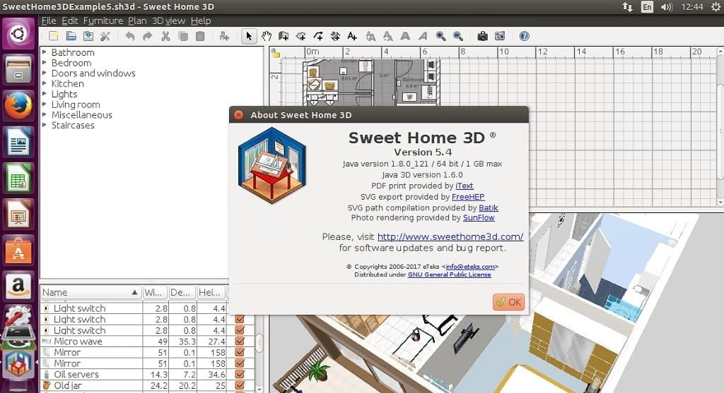 how to install sweet home 3d 5 4 on linux linux hint. Black Bedroom Furniture Sets. Home Design Ideas