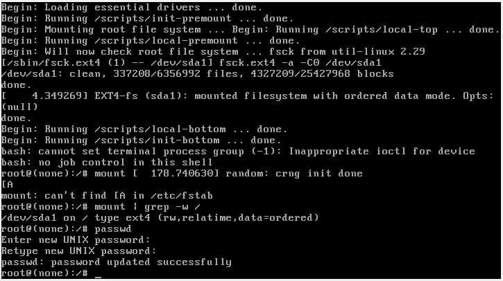 reset root password