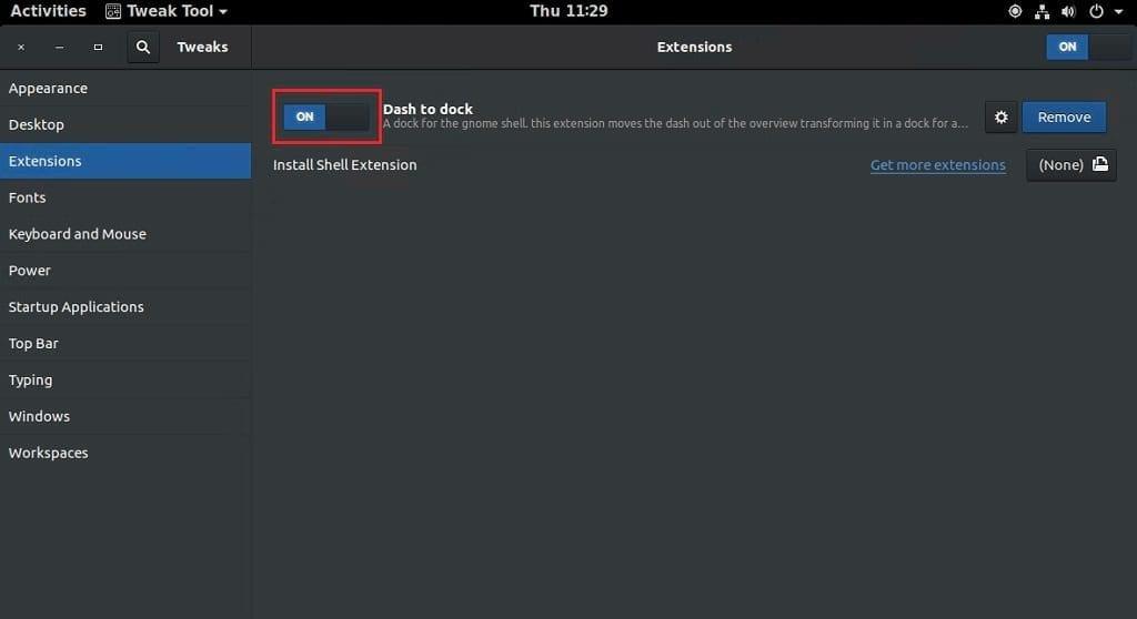 GNOME Shell Dash to Dock