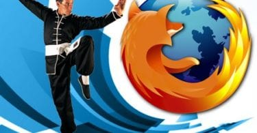 Man doing kungfu with Firefox Logo