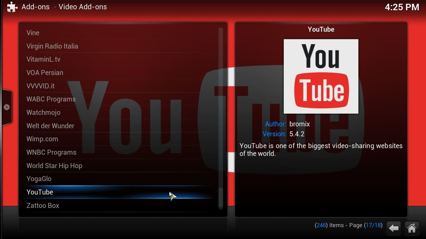 Adding YouTube to Kodi