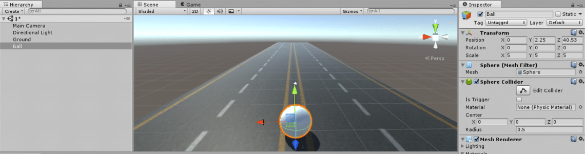 Unity3D Ball on Road