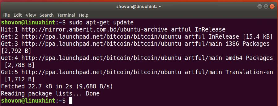 bitcoind ubuntu command how to start
