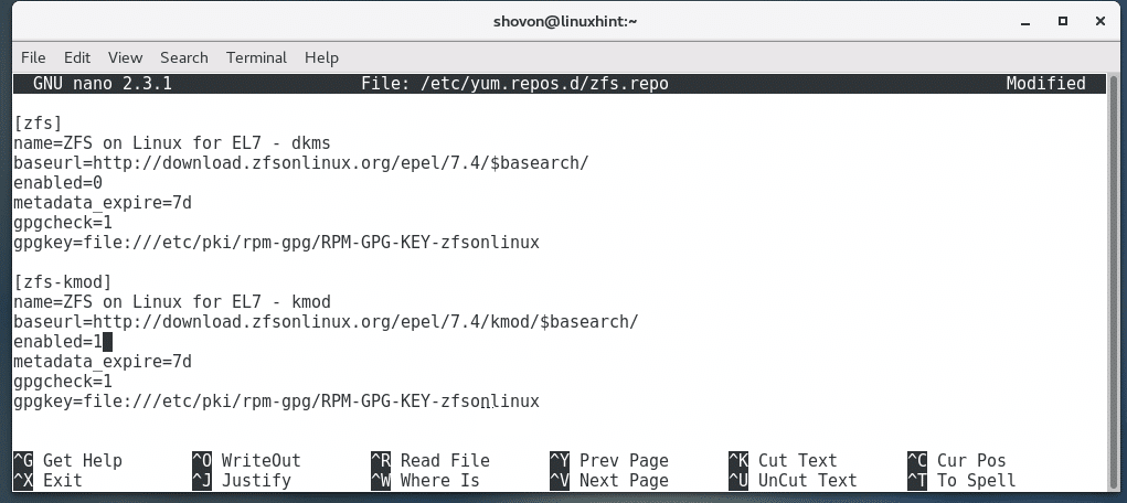 Install ZFS on CentOS7 – Linux Hint