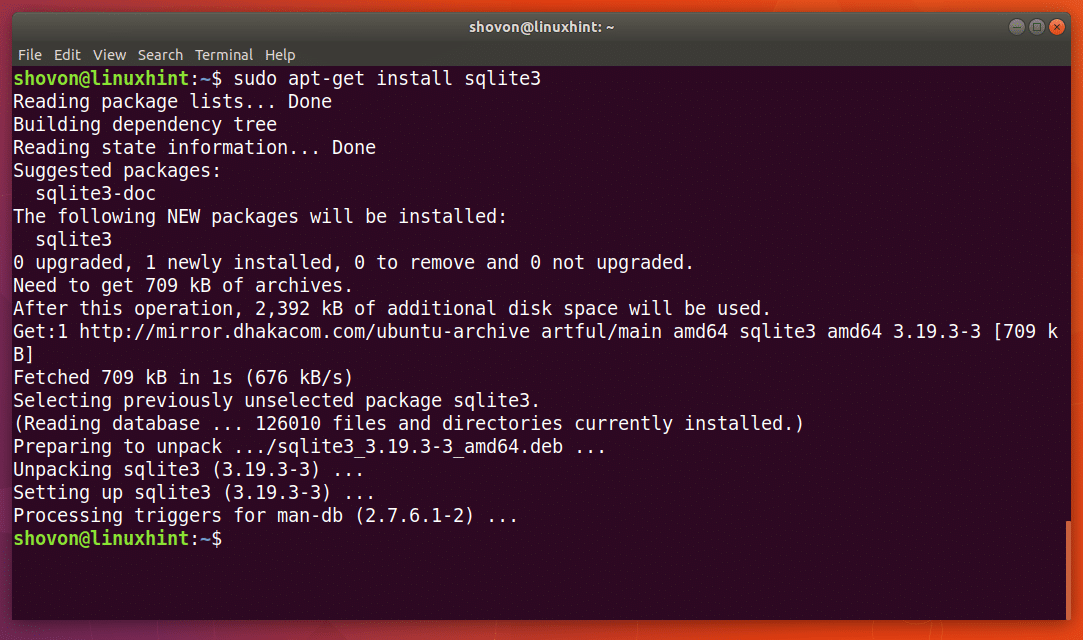 Backup and Restore of Sqlite Database – Linux Hint