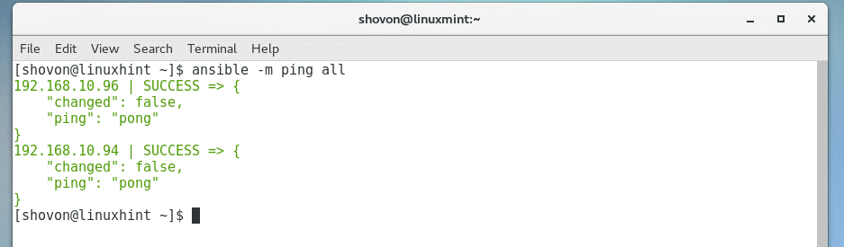 Ansible Ping Command