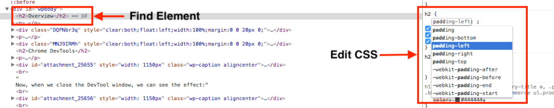 Edit element CSS