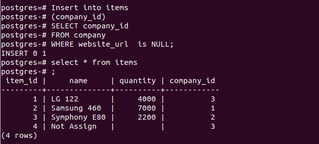 PostgreSQL IS NULL Query – Linux Hint