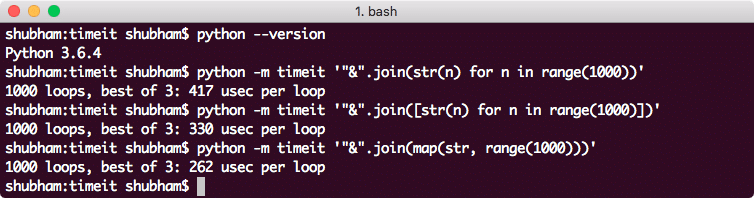 Time of execution from CLI using timeit