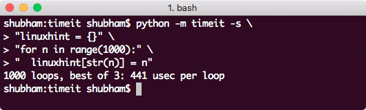 Timing multi-line code on CLI