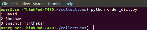 OrderDict collection in Python