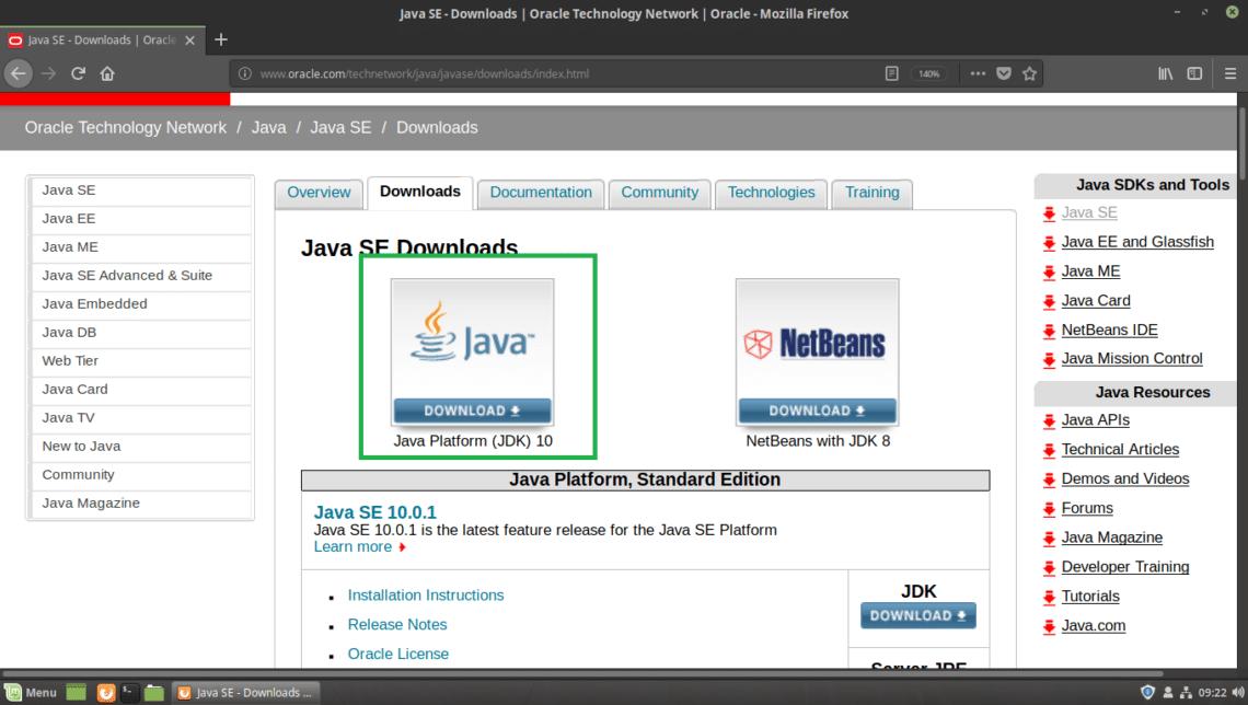 Install Oracle Java Development Kit (JDK) 10 on Linux Mint 19