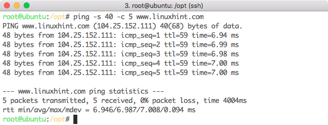 Data Packet size for Ping