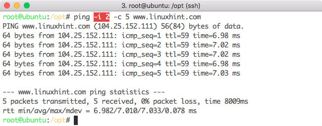 Changing time interval for Ping