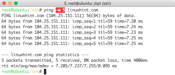 Total interval for Ping