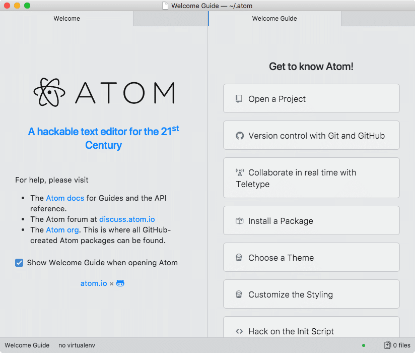 Atom Editor home screen