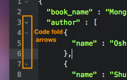 Code-fold arrows in JSON