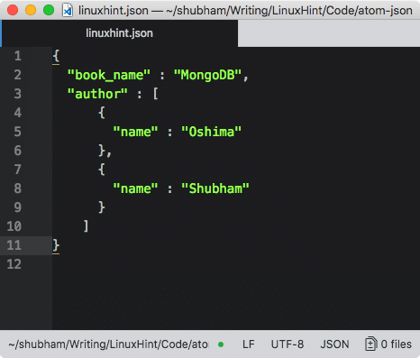 JSON is Highlighted