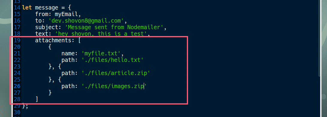 Node js Send E-Mail with Attachment – Linux Hint