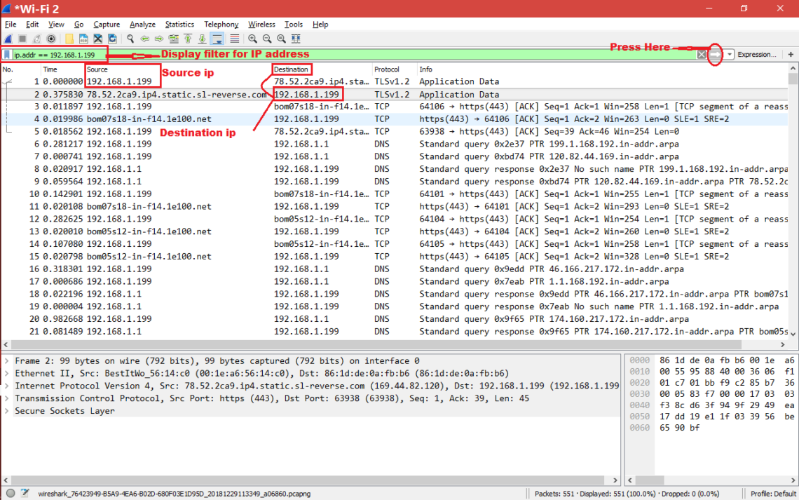 How to Filter By IP in Wireshark – Linux Hint