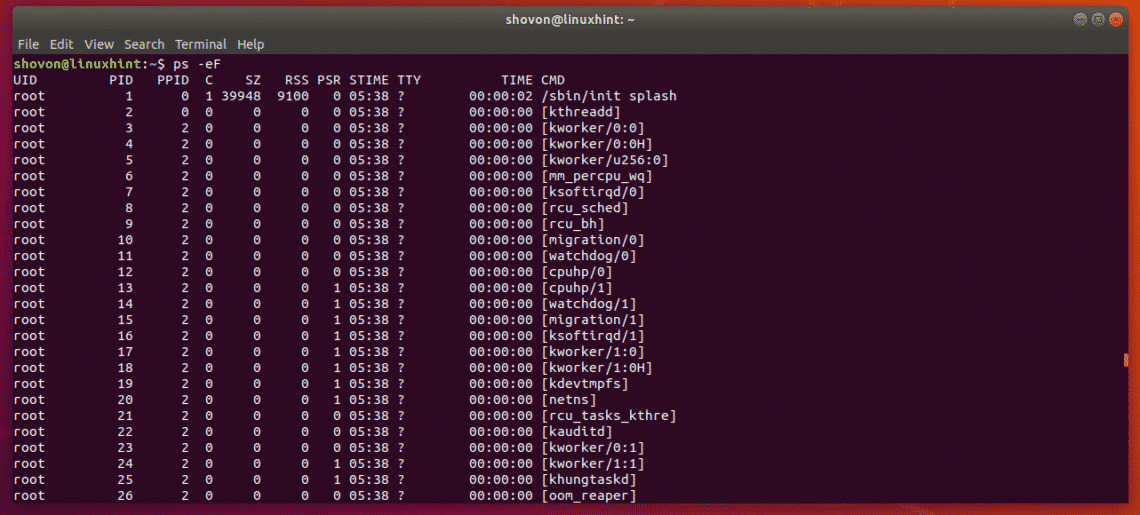 linux find process id ps ef