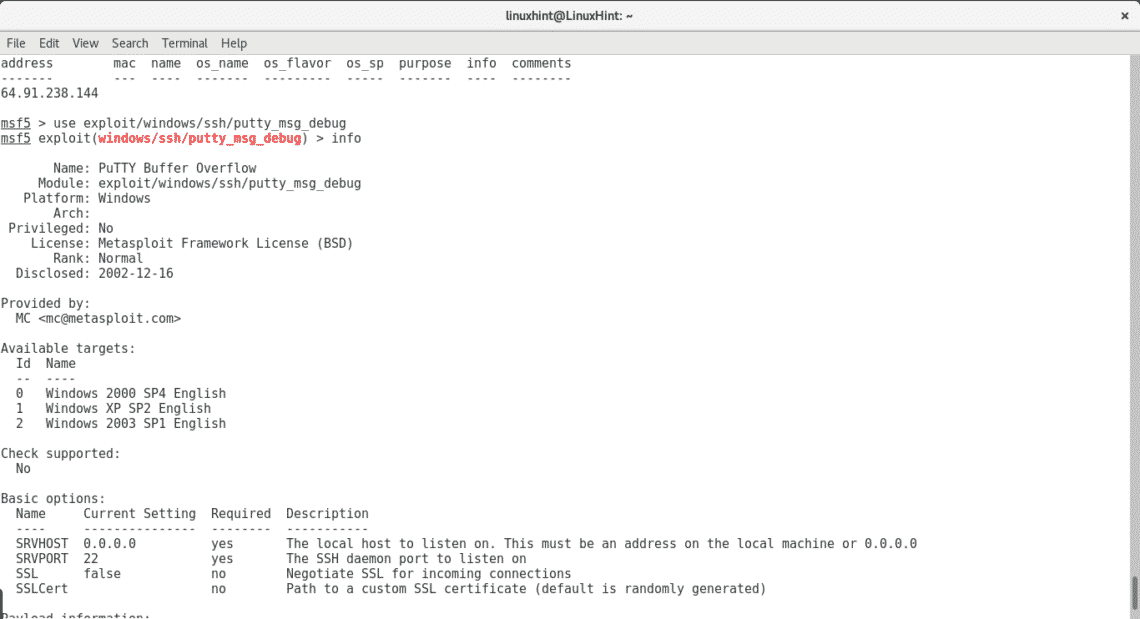 Metasploit installation and basic commands – Linux Hint