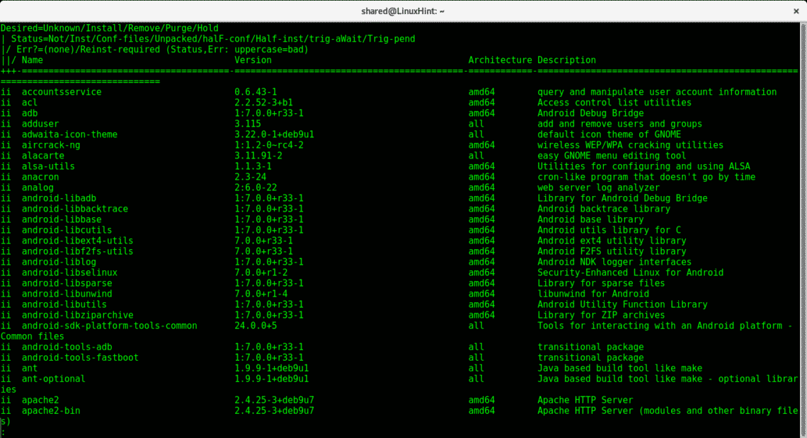 List all installed packages on Debian – Linux Hint