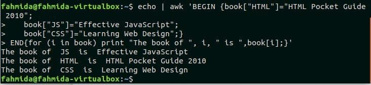 How to use array in awk command – Linux Hint