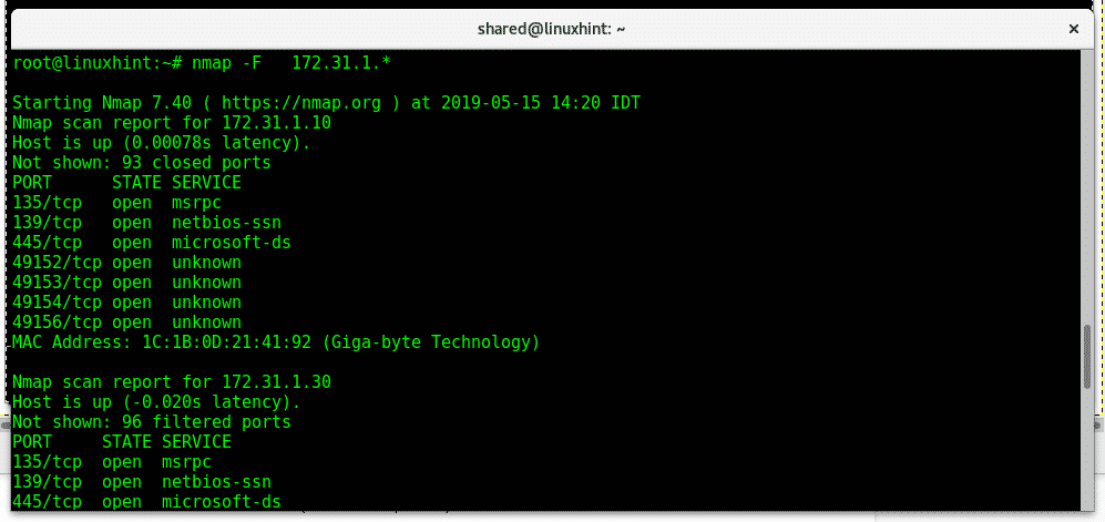 nmap network scanning – Linux Hint