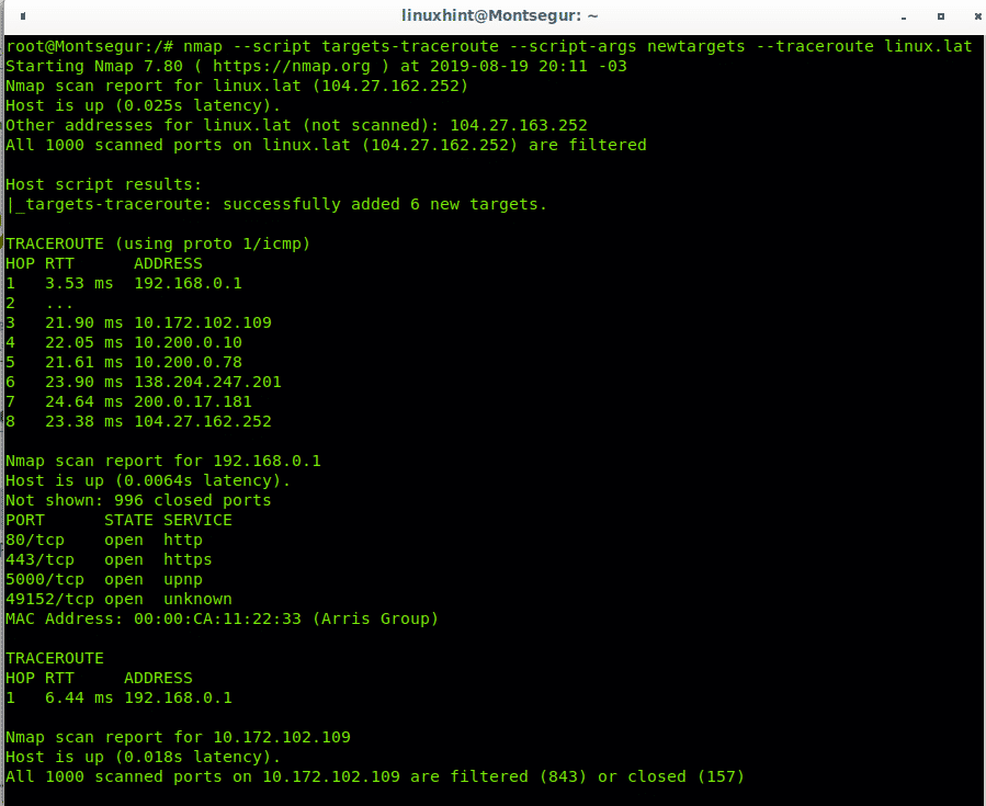 Traceroute with Nmap – Linux Hint