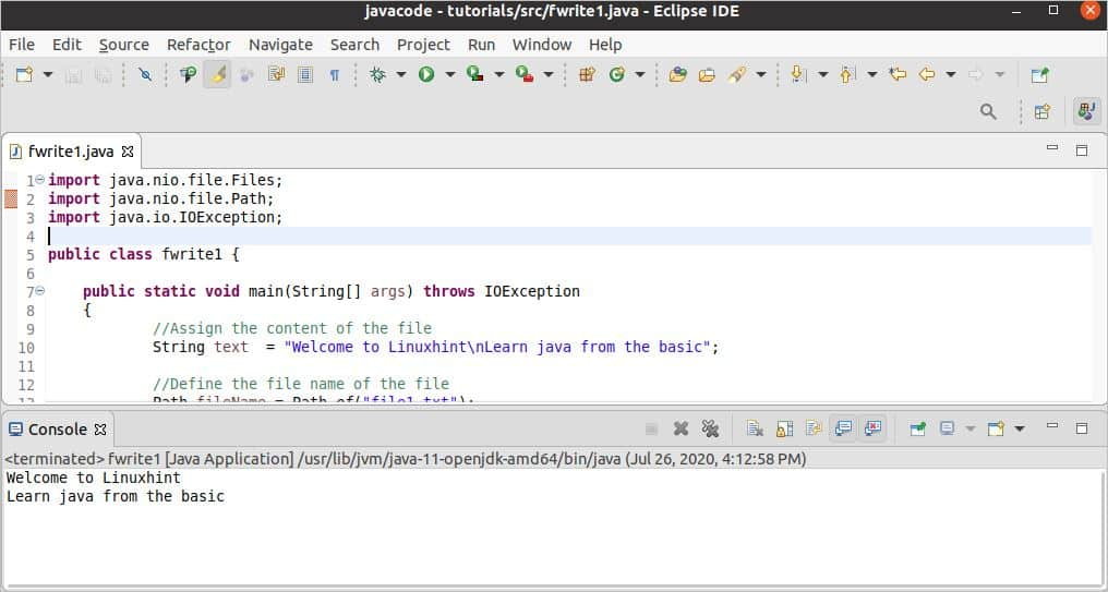 Java program to write a string to a file sample dietetic internship cover letter