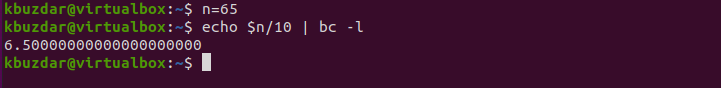 BASH - Arithmetic BC Command Fraction