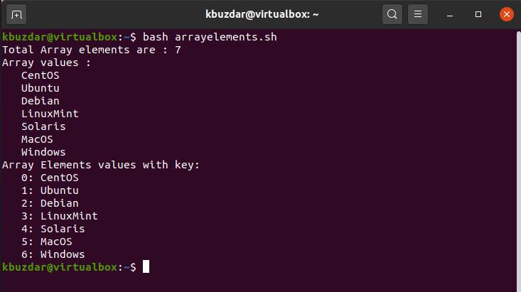 BASH - Array Variables Output