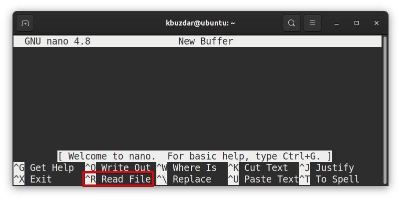 Open Existing File in Nano Method 1