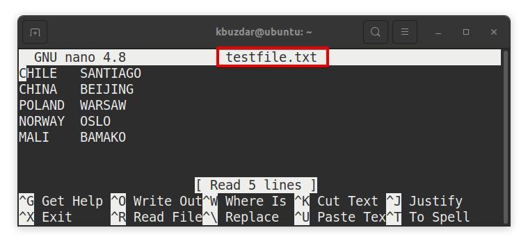 Open Existing File in Nano Method 2