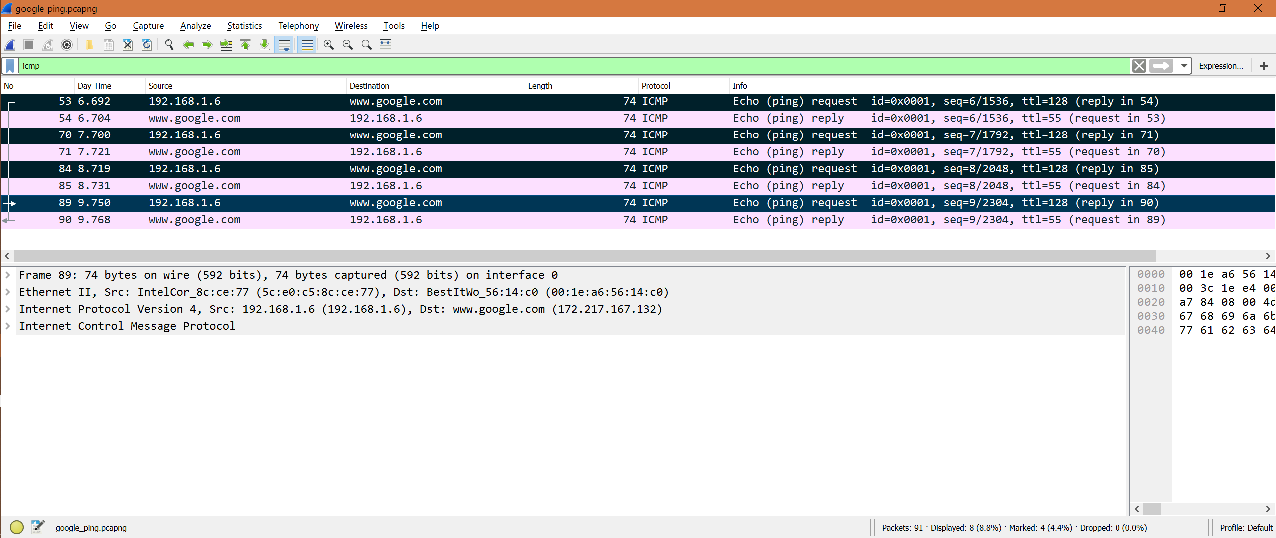 Packet Filter Analysis for ICMP in Wireshark – Linux Hint